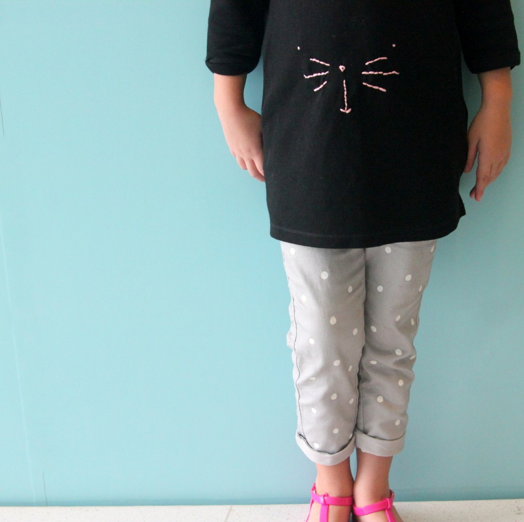 DIY polka dotted skinnies (both super cute and SO easy to make!)