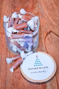 homemade caramels and a free printable label