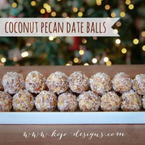 coconut pecan dateballs