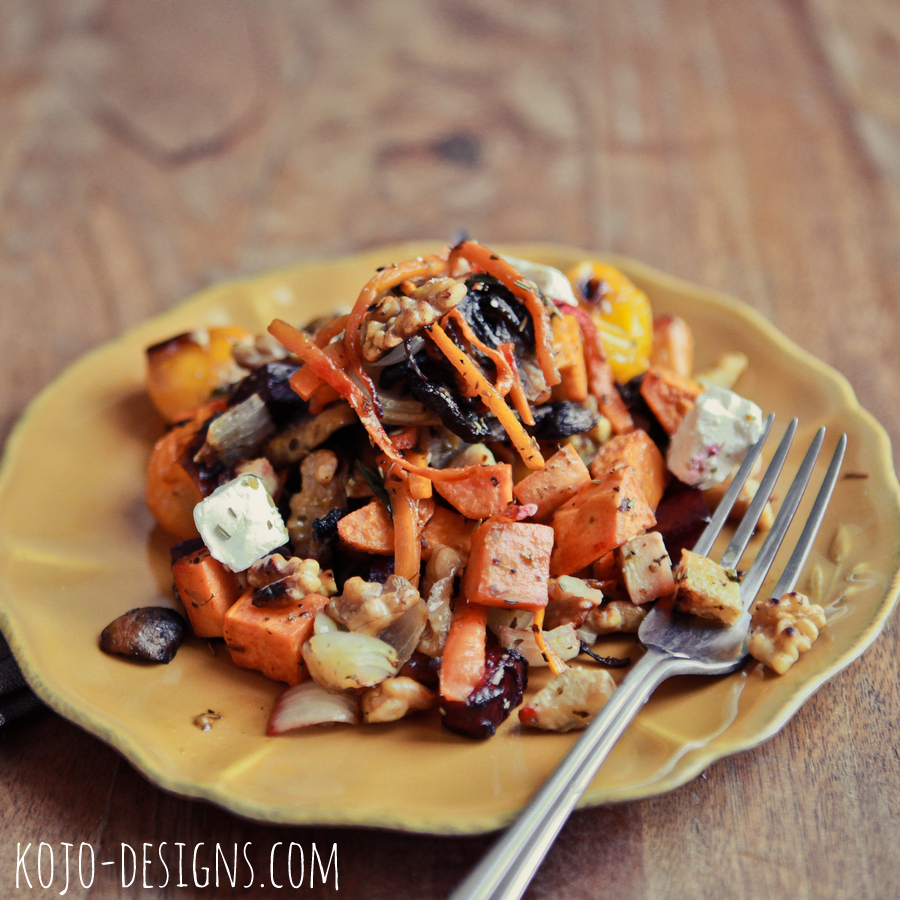 warm root veggie salad: whole30