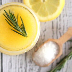 homemade lemon rosemary salt scrub- perfect for sandal season, and makes a great gift!