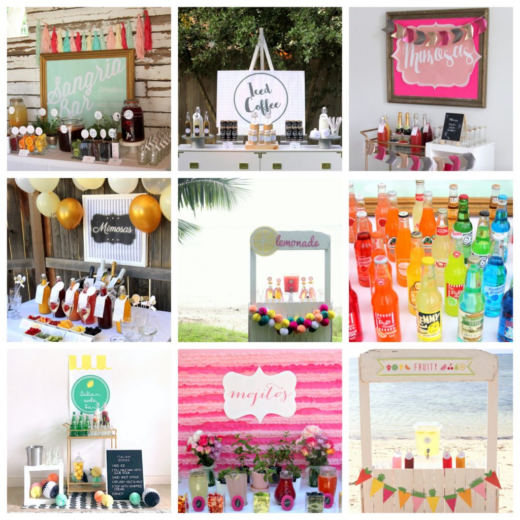 drink station ideas for your wedding (or bridal shower, baby shower, party, etc!)