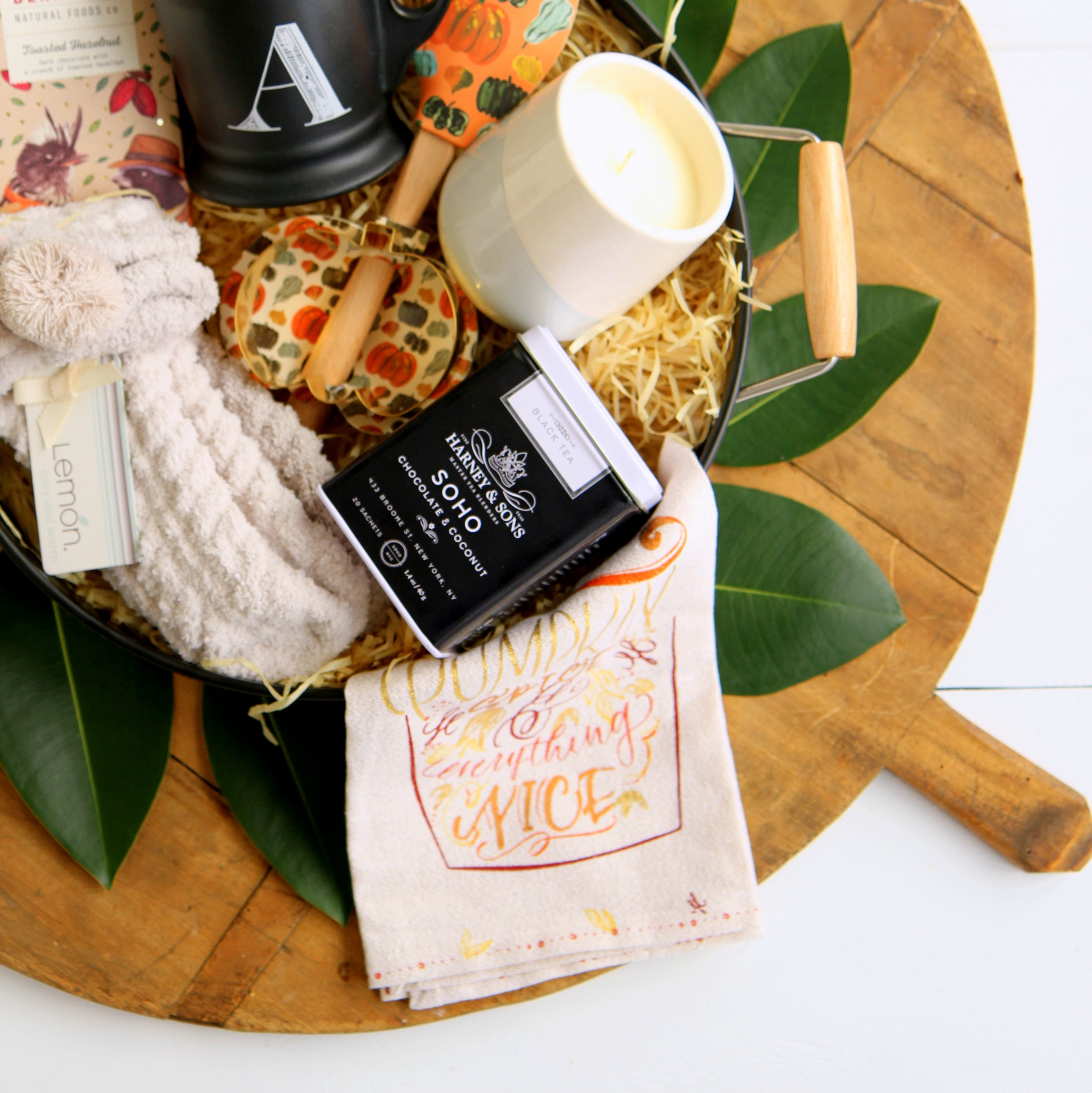 the coziest fall gift basket- perfect for a thanksgiving hostess gift